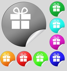 Gift box icon sign Set of eight multi-colored vector