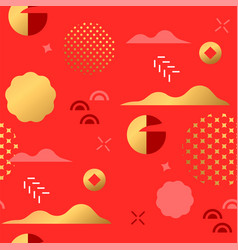 gold red asian art minimalist seamless pattern vector image