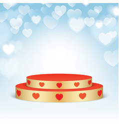 golden pedestal with red hearts vector image