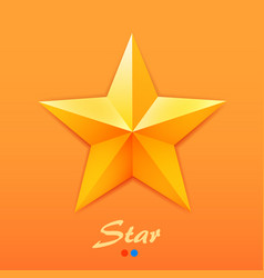 Golden star on orange background vector