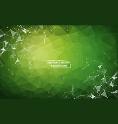green polygonal background molecule and vector image