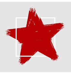 Grunge hand painted brush stroke star vector