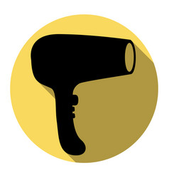 hair dryer sign flat black icon with flat vector image