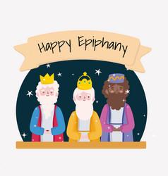 Happy epiphany three wise kings celebration vector