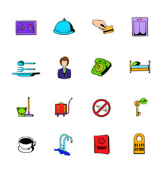 Hotel comics icons set cartoon vector