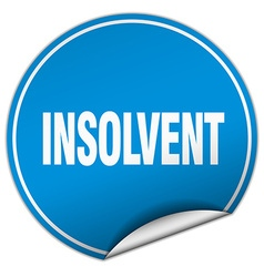 Insolvent round blue sticker isolated on white vector