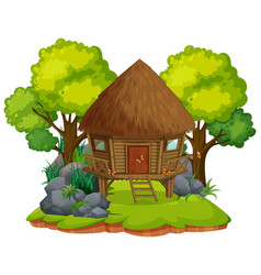 Isolated wooden hut on white background vector