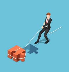 Isometric businessman pull jigsaw block into vector