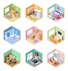 isometric rooms designed house living room vector image