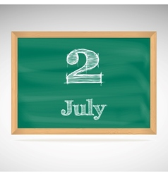 July 2 day calendar school board date vector