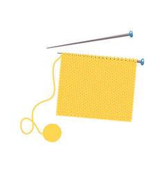 Knitted fabric on the needles vector