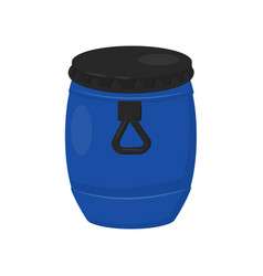 Large plastic barrel for water blue container vector