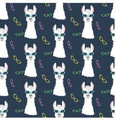 Llama in cateye glasses seamless pattern vector