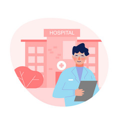 male doctor standing in front hospital building vector image