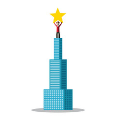 man holding star on the top of skyscraper vector image