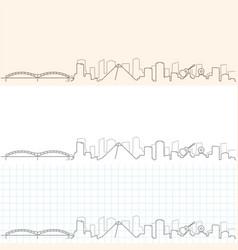 Memphis hand drawn skyline vector