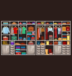 men and women wardrobes with clothing vector image