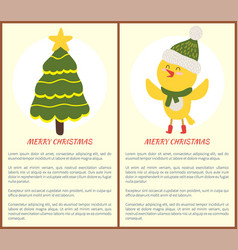 Merry christmas greeting card with chicken tree vector