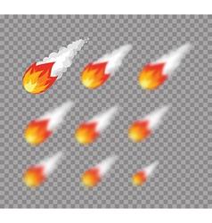 Meteorite falling fireball set meteorite vector