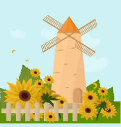 Mill in the summer sunflowers provence vector