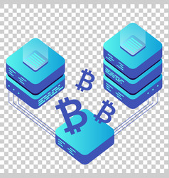 Mining bitcoin server icon in isometric style vector
