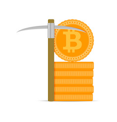 mining bitcoins gold vector image