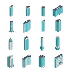 Modern Buildings Isometric Set vector image