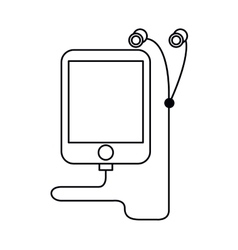 Mp3 device play music earphones outline vector