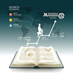 Open book infographic business step paper graph vector