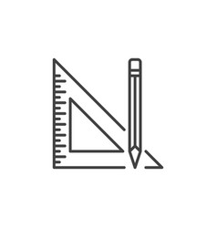 Pencil with triangle ruler outline concept vector