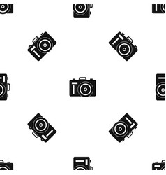 photocamera pattern seamless black vector image