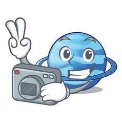 Photographer planet uranus in the cartoon form vector