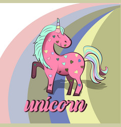 pink unicorn with colorful hearts vector image