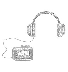 Player with headphones coloring for adults vector