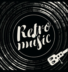 Poster retro music with vinyl record and player vector