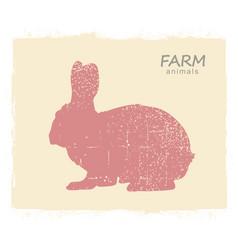 rabbit hare silhouette vintage label vector image