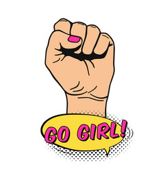raised womens fist in pop art comic style placard vector image