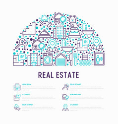 Rea estate concept in half circle vector
