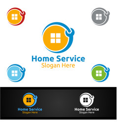 real estate and fix home repair services logo vector image