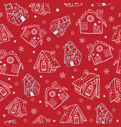 Red gingerbread houses christmas seamless vector