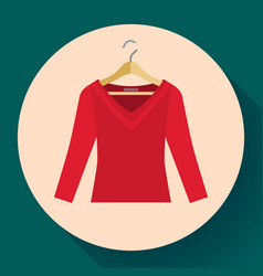 red women sweater clothes on a hanger icon vector image
