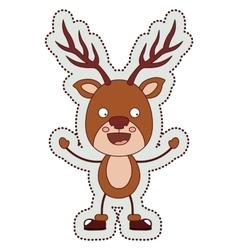 Reindeer cartoon of Merry Christmas vector image