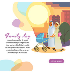 religious muslim couple walking with pram vector image