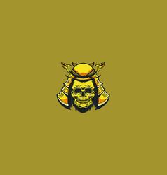 samurai skull logo vector image