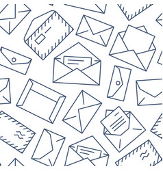 seamless pattern with envelopes flat line icons vector image