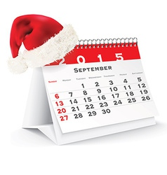 September 2015 desk calendar with Christmas hat vector