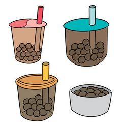 set of bubble milk tea vector image