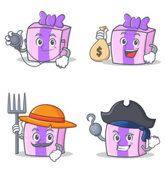 Set of gift character with doctor money bag farmer vector
