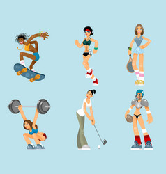 Set of sports women vector