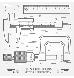 Set thin line icons caliper ruler and vector image